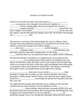 Cloze Review Sheet: Chronicle of a Death Foretold: Marquez
