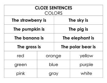 Cloze Sentences - Fill in the Blank Sentences for Early Writers