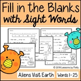 "Cloze Sentences with Sight Words ""Aliens Visit Earth"" - Fr"