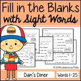 "Cloze Sentences with Sight Words ""Dan's Diner"""