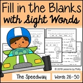 """Cloze Sentences with Sight Words """"The Speedway"""""""