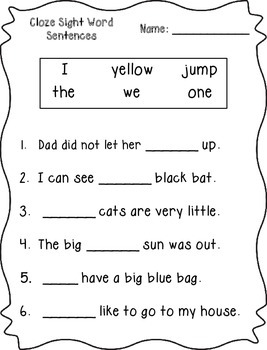 Cloze Sight Word Sentences (Pre-Primer)