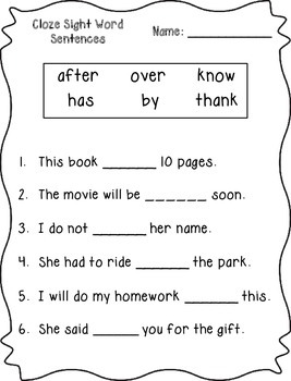 Cloze Sight Word Sentences (1st Grade)