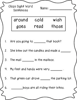 Cloze Sight Word Sentences (2nd Grade)