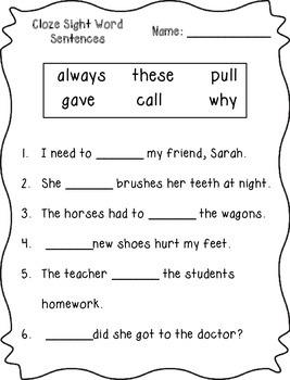 Cloze Sight Word Sentences (2nd Grade)