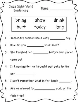 Cloze Sight Word Sentences (3rd Grade)