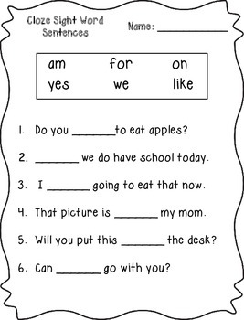Cloze Sight Word Sentences (Primer)