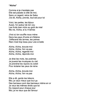 """Cloze Song Activity : """"Aïcha"""" by Cheb Khaled"""