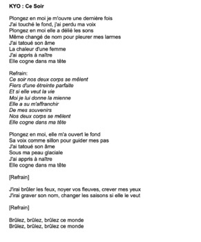"""Cloze Song Activity : """"Ce Soir"""" by Kyo"""