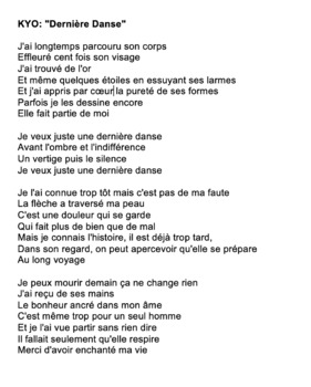 "Cloze Song Activity : ""Dernière Danse"" by Kyo"