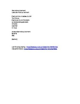 """Cloze Song Activity : """"Des Mots Qui Résonnent"""" by Jenifer"""