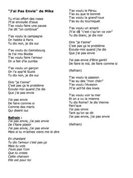 "Cloze Song Activity : ""J'ai Pas Envie"" by Mika"
