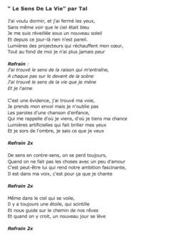 "Cloze Song Activity : Le Sens de la Vie"" by Tal"
