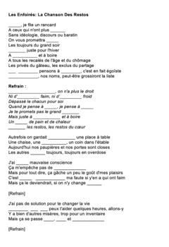 """Cloze Song Activity : """"Les Restos du Coeur"""" from les Enfoirés"""