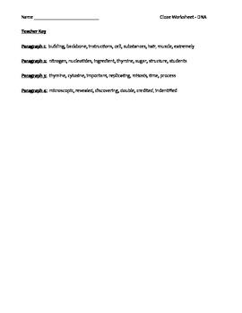 High School Science Biology Cloze Worksheet - DNA