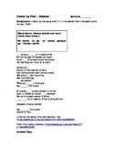 """""""Como La Flor"""" by Selena Cloze activity (pronouns, basic words)"""