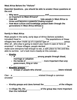 Cloze and summary directions for West Africa Before the Visitors PPT