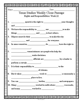 Cloze passages for Texas Studies Weekly Second Grade, Weeks 22-27.