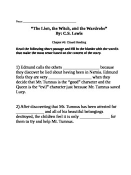 """Clozed Reading for """"The Lion, the Witch, and the Wardrobe"""" by C.S. Lewis"""