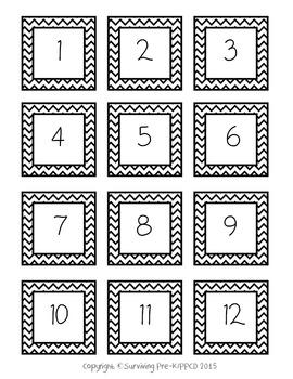 Classroom Line Up Numbers - Black Chevron