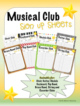 club sign up sheets musical by ribbons resources tpt