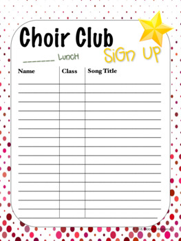 Club Sign Up Sheets - (Musical)