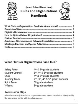 Club and Organization Sponsor Packet
