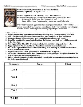 Clubhouse Mysteries - Lost in the Tunnel of Time Comprehension Packet