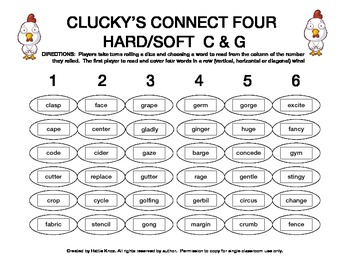 Clucky's Connect 4: Hard/Soft C & G Game- Orton Gillingham Phonics/Reading