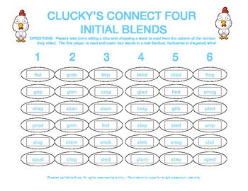 Clucky's Connect 4: Initial Blends Board Game- Orton Gillingham Phonics/Reading