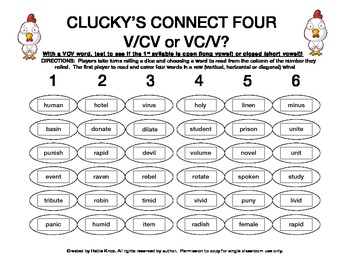 Clucky's Connect 4: VCV Syllable Division Game- Orton Gillingham Phonics/Reading