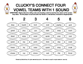 Clucky's Connect 4: Vowel Teams Game (ee, oi, oy, ai, ay, oa)- Orton Gillingham