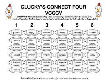 Clucky's Connect 4:VCCCV Syllable Division Game-Orton Gillingham Phonics/Reading