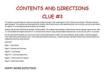 Clue #3 - An Activity to Review Open, Closed, and VCE Syllables