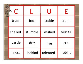 Clue #4 - An Activity to Review Closed, VCE, Open, and Consonant-le Syllables