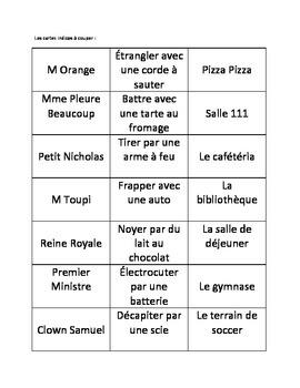 Game: Clue in French!  Jeu cluedo en français!