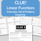 Clue! Linear Functions - Intercepts, Graphing, Word Problems