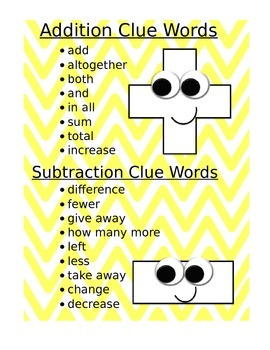 Clue Words - Add/Subtract