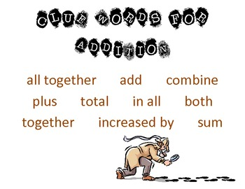 Worksheets Addition Words clue words addition subtraction by sandy reed teachers multiplication and division