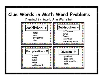 Clue Words in Math Word Problems