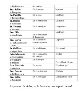 Clue game: DO object pronouns with Irregular preterite / Realidades 2 3a