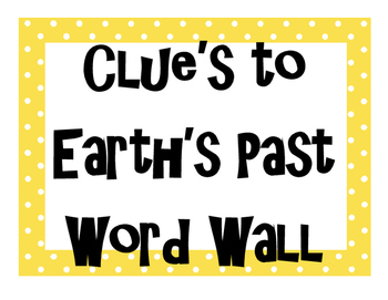 Clues to Earth's Past Word Wall