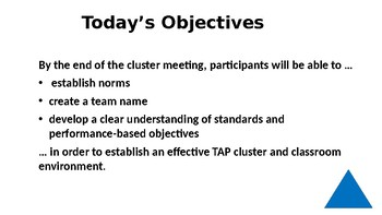 Cluster 1-Standards and Objectives