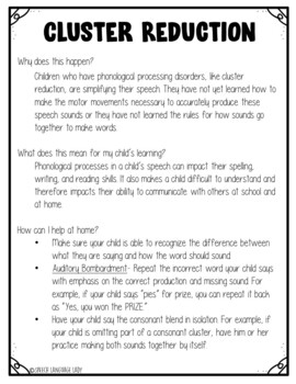 Cluster Reduction Phonological Processing Disorder Parent Letter