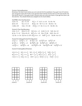 Cluster Worksheet Solving Equations with one variable
