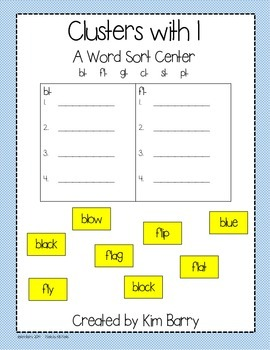 Clusters with l Word Work Center