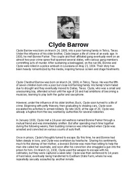 Clyde Barrow Article and Assignment