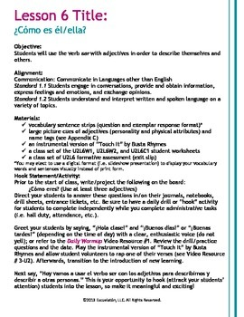 ¿Cómo es él/ella? Spanish Complete LP, Worksheets & Assessment