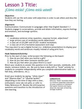 ¿Cómo estás? Spanish Complete Lesson Plan, Worksheets & Assessment