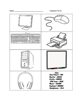 Color the Computer Parts Worksheet by A Teacher's Paradise ...